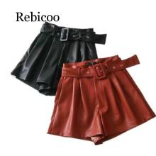 Women Black Orange Color PU Leather High Waist with Belt Wide Leg Faux Shorts Quality Winter Loose
