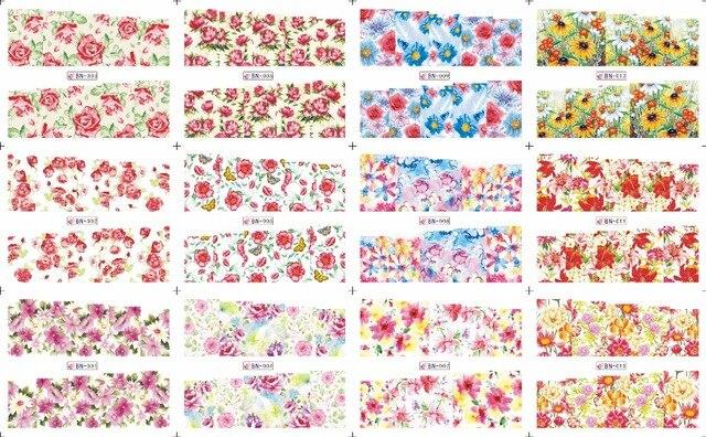 En venta!! 1 Lote = 20 hojas. 12 en una hoja Nueva Style Nail Art Sticker Agua Coloridas flores y plantas en 2016 para BN001-024