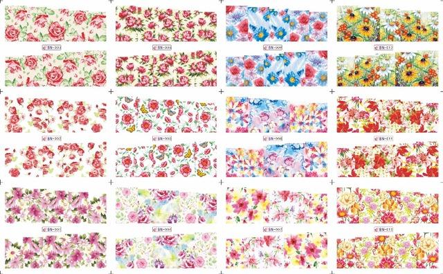 Na venda!! 1 Lote = 20 folhas. 12 em uma folha New Style Nail Art Água Etiqueta Colorida flores e plantas em 2016 para BN001-024