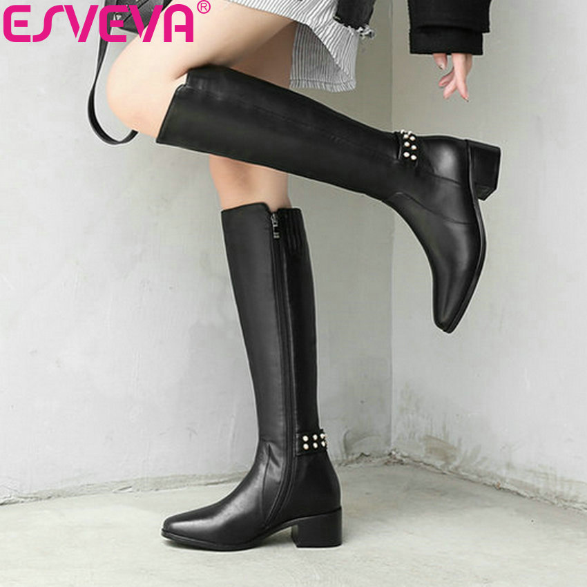 ESVEVA 2019 Shoes Women Knee-high Boots Square Med Heels Square Toe Autumn Solid Boots Shoes Size 34-39 Winter Boots for Girls enmayla retro winter high heels ankle boots women nubuck charms shoes woman sexy red boots med heels square toe boots size 34 43