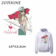 ZOTOONE Iron on Stickers Patches for Clothes Scooter Girl Patch DIY Accessory Washable Heat Transfer Appliques C