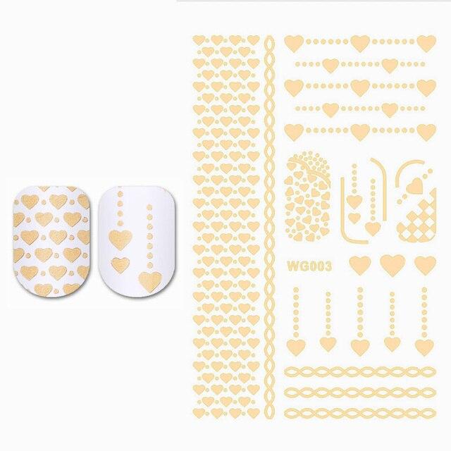 Gold Herz Vergoldung Wasser Aufkleber Nail art Transfer Aufkleber ...