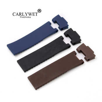 CARLYWET 25*12mm Wholesale Black Brown Blue Waterproof Silicone Rubber Replacement Wrist Watch Band Strap Belt For Ulysse Nardin - DISCOUNT ITEM  45 OFF Watches