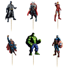 24pcs The hero Party Cupcake Cake Toppers Picks Kids boy Birthday Party Supplies Wedding Decorations Cake Cup