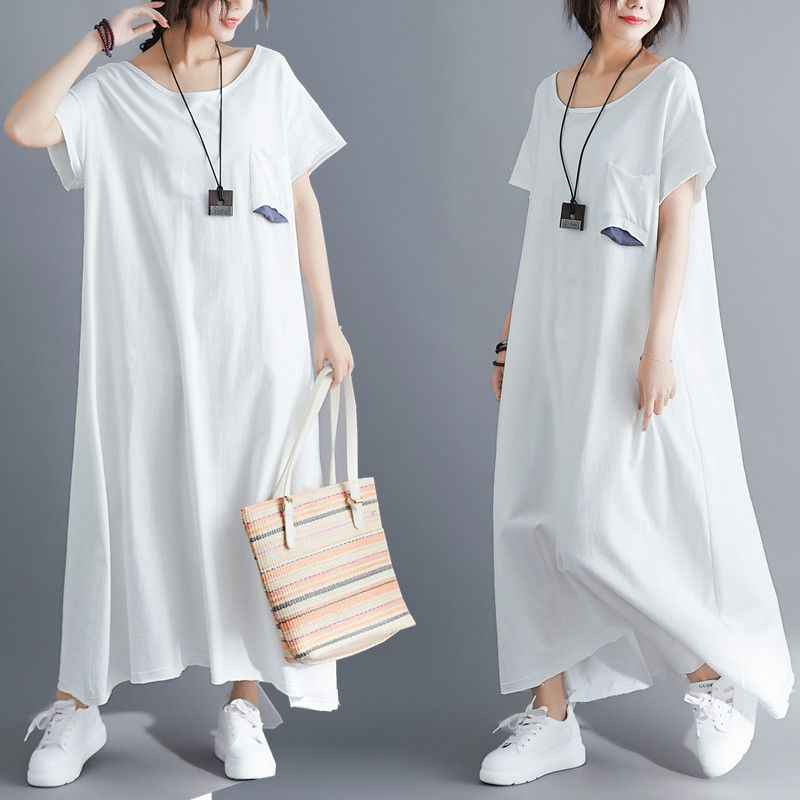 NYFS 2019 новое летнее платье винтажное вязаное женское платье большого размера свободное стильное удобное длинное платье vestidos robe платья