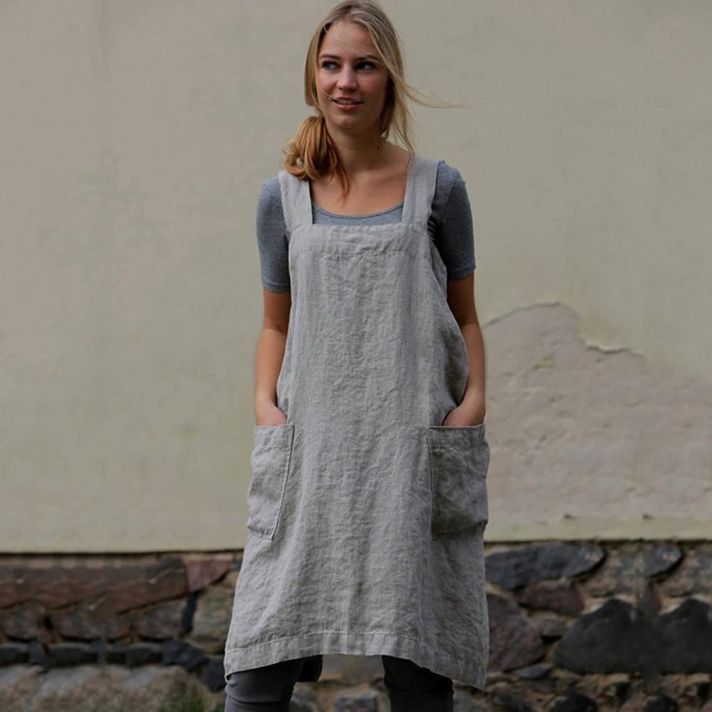 Cotton Linen Pinafore Cross Apron Garden Work Pinafore Dress Women  Square Collar Suspender Dress Overall Pocket **