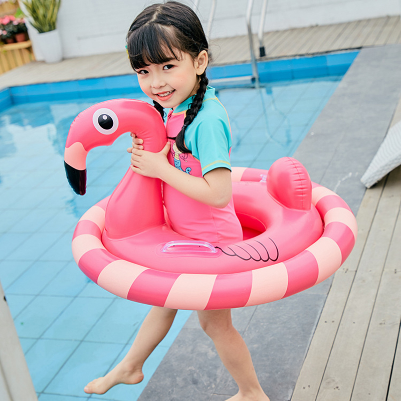 Inflatable Flamingo Pool Float Circle Mattress Baby ride on Flamingo Swimming Ring Seat Boat Raft Summer Water Fun Children Toys