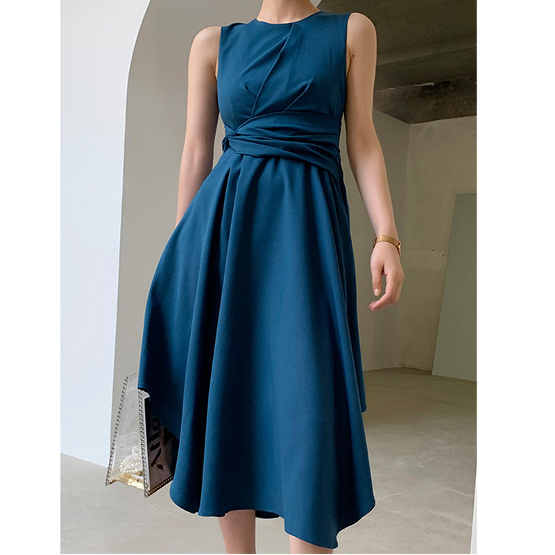 Women Blue Chiffon Dress 2019 New Fashion Round Neck Tie Waist Sleeveless Irregular Swing Midi Dresses