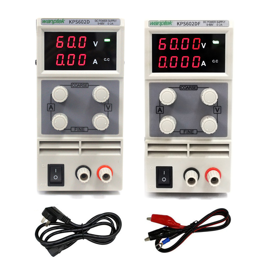 KPS602D/DF Digital DC Power Supply 60V 2A Adjustable Switching Regulated Power Supply Digital With Alligator Leads lab EquipmentKPS602D/DF Digital DC Power Supply 60V 2A Adjustable Switching Regulated Power Supply Digital With Alligator Leads lab Equipment