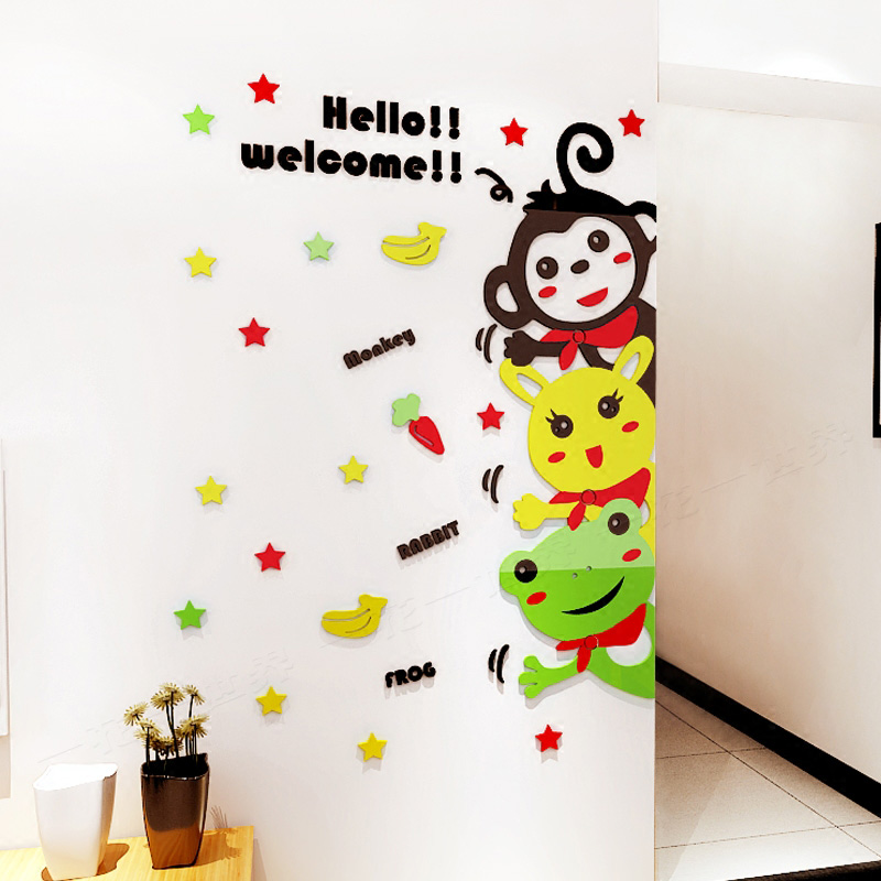 Us 16 97 Baby Wall Decorations For Nursery Animal Fox Monkey Acrylic Stickers Sticker Living Room Cl Door Decoration In