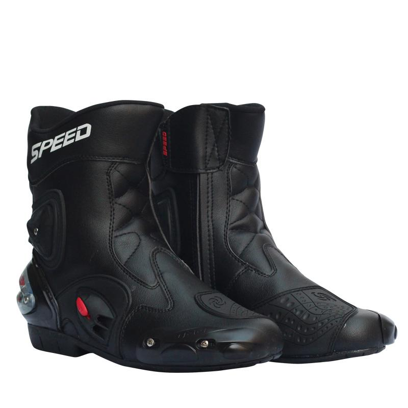 Motorcycle Racing Boots Leather Waterproof Riding Shoes Microfiber Motorbike Motocross Off-Road Protective Gears Moto Boots