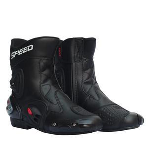 Image 1 - Đua Xe Máy Giày Da Chống Thấm Nước Đi Giày Microfiber Xe Máy Motocross Off Road Bảo Vệ Bánh Răng Moto Giày