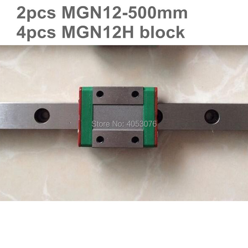 Linear guide MGN12 miniature linear rail slide 2pcs MGN12- 500mm linear rail guide +4pcs MGN12H carriage for cnc parts new r775 12v 12000rpm dc micro motor stroller motor model motor speed motor