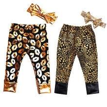 2016 New Kids Baby Girls Long Bottoms Kiss Leggings Pants +Hair Band 2pcs Set Outfits