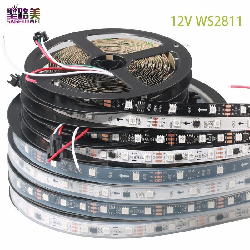5m/rolls DC12V WS2811 led Pixels Programmable led strip 30/48/60 leds/m,ws2811IC 5050 RGB SMD White/Black PCB led strip light