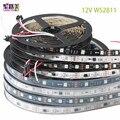 5m/rollen DC12V WS2811 led Pixel Programmierbare led streifen 30/48/60 leds/m,ws2811IC 5050 RGB SMD Weiß/Schwarz PCB led streifen licht