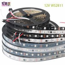 Tira led programável, 5m/rolls dc12v ws2811 pixels 30/48/60 leds/m, ws2811ic 5050 rgb smd luz branca/preta pcb