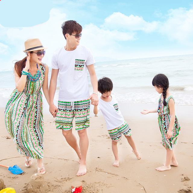 b6a963de66 family clothing Matching Mother Daughter Dresses for Girl Cotton Long beach  Dress Maxi father son t-shirts and shorts set summer