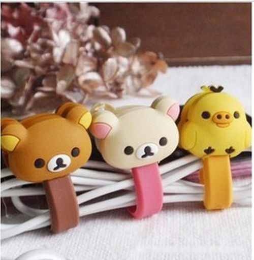 10PCS lot Cartoon buttoned Bear Fixed Line Clamp font b Cable b font Wire Organizer font
