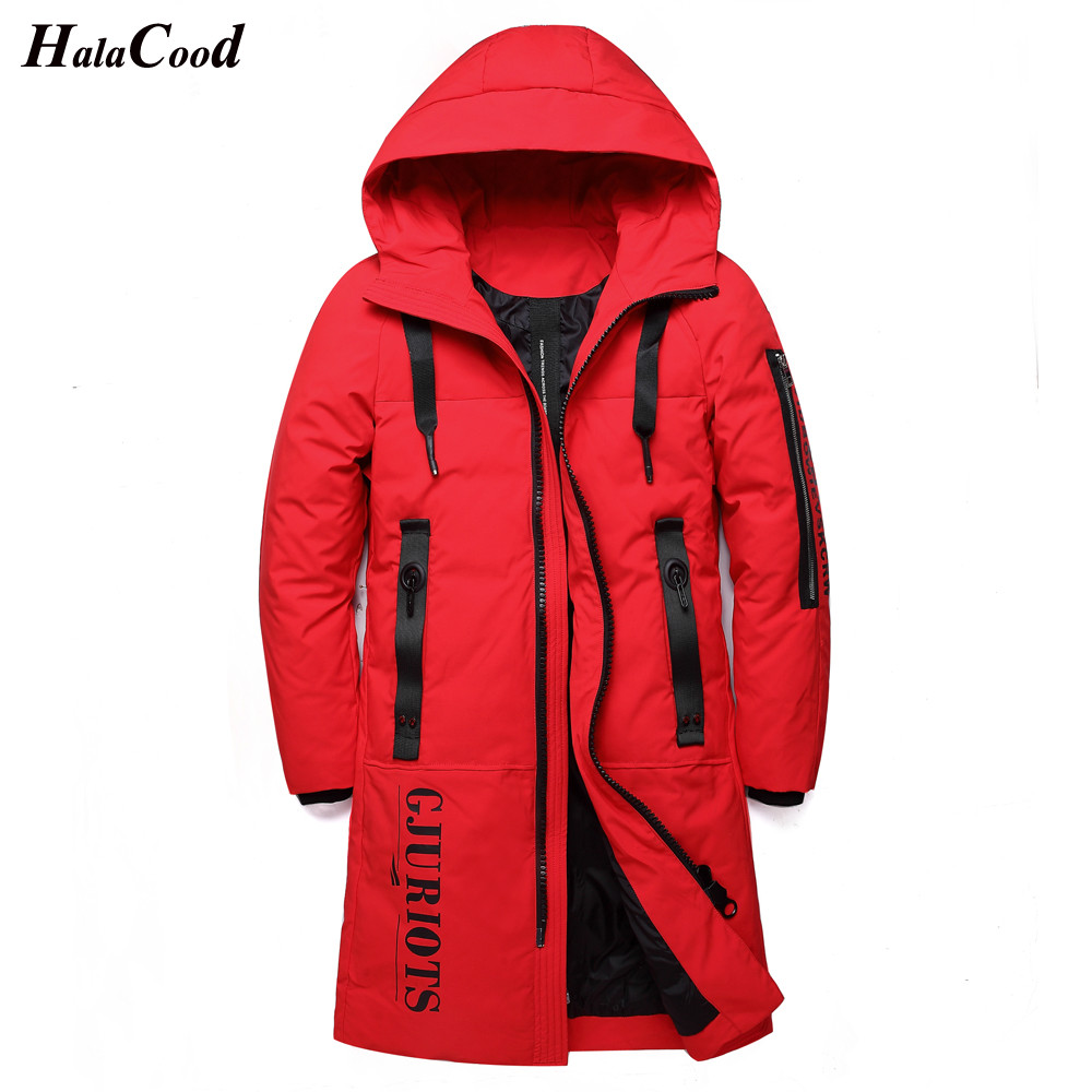 HALACOOD 2018 New 90% White Duck   Down     Coats   Winter Thickening Mens Long Hooded Parkas M-5XL Warm Overcoats Male Long Outwear Man
