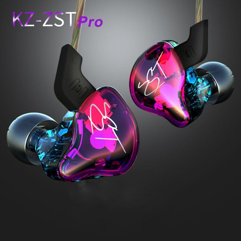 New KZ ZST In Ear Earphone 1DD With 1BA Hybrid Drive HIFI DJ Earphone Running Sport Earphones Monitor Earplug Headset Two Colors