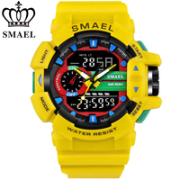 SMAEL LED Digit Sport Watches Men 50M Waterproof S Shock Dual Time Casual Watches Military Relogio
