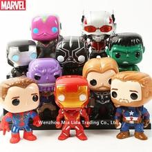Hasbro Marvel 8pcs/set Decoration Iron Man Supreme Spider-Man Raytheon Hulk Q version model toy garbage kit