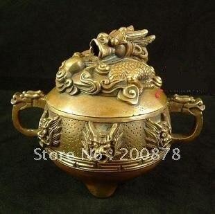 TBC849 Tibet brass Antiqued Nine Dragon Heads Incense burner,100*80mm,Buddhist Incense tools things
