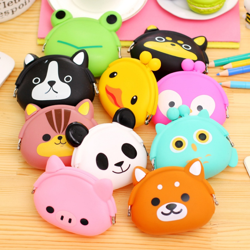 цена на Girls Animals Mini Coin Purse Silicone Mini Coin Bag Change Wallet Purse Small Women Key Wallet coin Wallet Children Kids