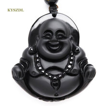 NEW Natural Obsidian necklace Fashion black smile Maitreya Buddha pendant For women men Vintage jade jewelry ornament Free roppe