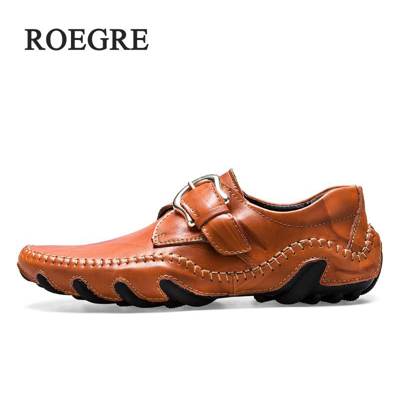 ROEGRE 2018 New Handmade Comfortable Shoes Loafers Casual Men Leather Shoes Men Party Quality Flats Shoes Moccasins Shoes cyabmoz 2017 flats new arrival brand casual shoes men genuine leather loafers shoes comfortable handmade moccasins shoes oxfords