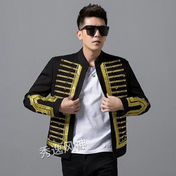 Men's handsome Slim jacket Court style embroidery fashion trend deduction long-sleeved punk wind nightclub singer out sui