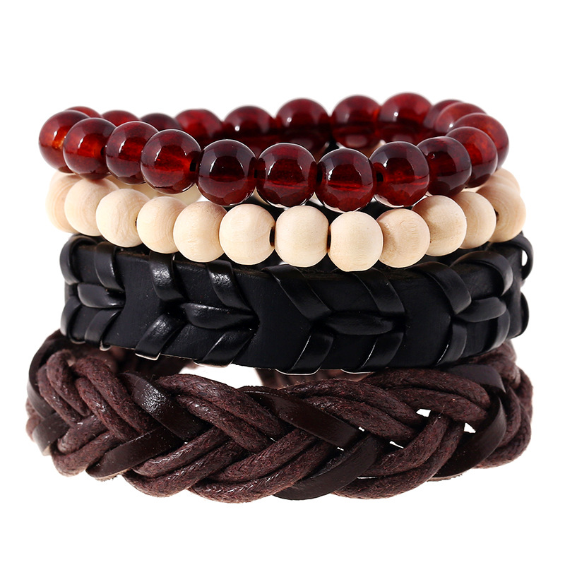 Fashionable Handmade Elastic Bead Bracelet Wholesale Price Match Set Leather Bracelet image