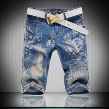 2017 new arrival summer character printed men's casual Denim shorts, men's Knee Length shorts,plus-size 28-38