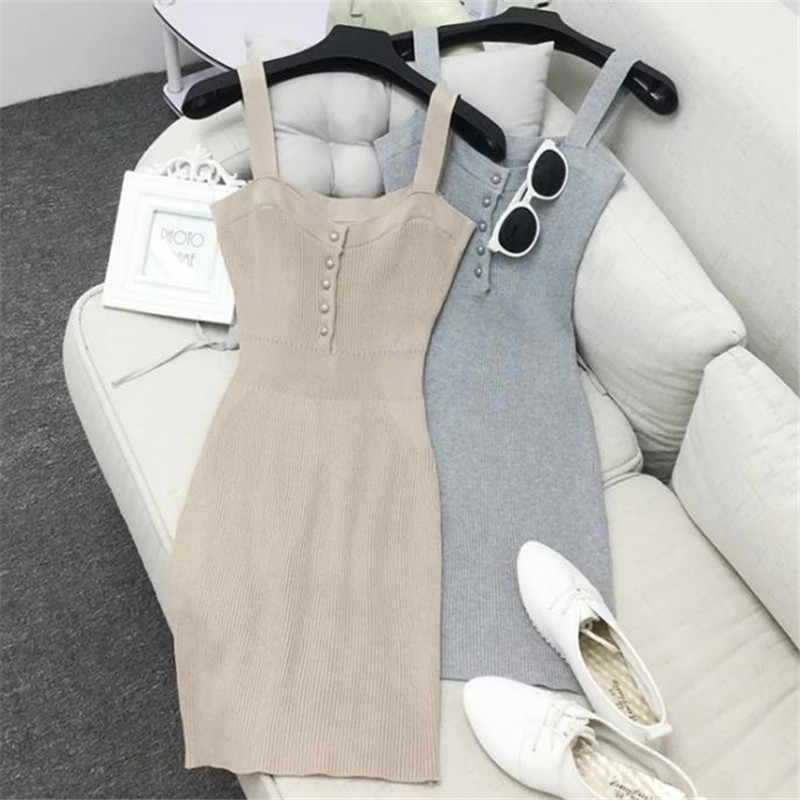 Autumn Women Knitted Dress Sexy Slash Neck Solid Spaghetti Strap Sleeveless Dress Female Casual Knitting Dresses Vestidos SF943