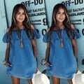 Mujer Del Hombro de La Colmena Estilo Columpio Vestidos de Verano Casual de Las Señoras Demin Azul Mini Vestido Lindo de la Nueva Llegada