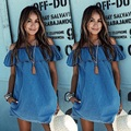 Woman Off The Shoulder Ruffle Swing Dresses Summer Style Casual Ladies Cute New Arrival Demin Blue Mini Dress