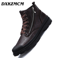 DXKZMCM Winter Autumn PU Leather Men Ankle Boots Fashion Snow Boots For Men Zipper Men's Boots Man Black Brown Lace Up Shoes