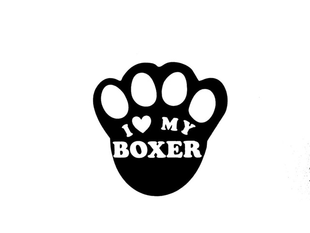 I love my boxer paw print dog car truck window sticker vinyl decal 398