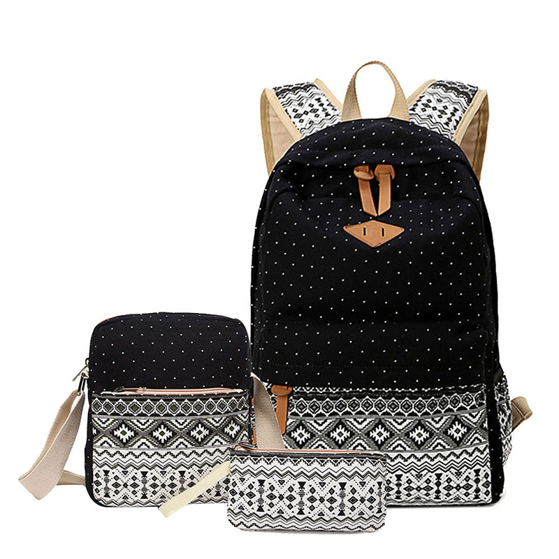 3 Pcs/set Polka Dot Printing Women Backpack Cute Lightweight Canvas Bookbags Middle High School Bags For Teenage Girls, Black