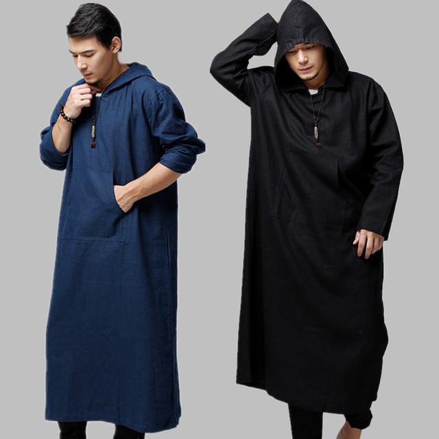 Túnica muçulmana De Linho De Algodão Homens Longo Robes Com Capuz Roupas do Estilo Chinês Preto Homens Roupas Soltas Casual Masculino Vestuário Islâmico Árabe