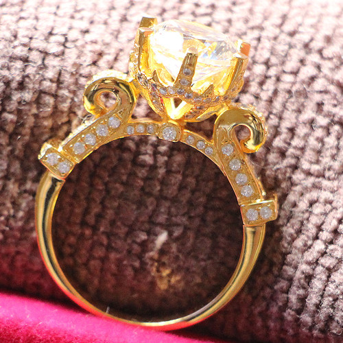3Ct Micro Pave Round Cut Engagement Ring 925 Sterling Silver and Covered with Yellow Gold Ring