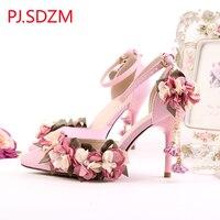Handmade Summer New Design Pink Satins Bridal Wedding Shoes Women Pointed Toe Flower Sandals 9cm High