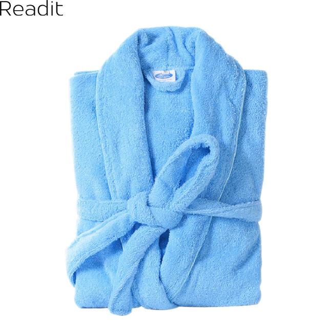 Mulheres Roupão Terry 100% Algodão Amantes Toalha Sólida Sleepwear Longo Roupão De Banho Quimono Roupão PA1822 Femme