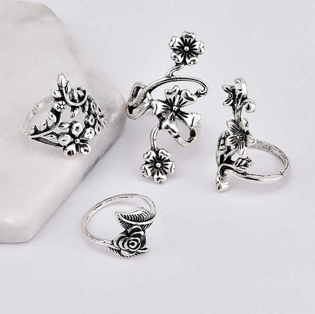 4Pcs Rings Set Natural Fire Opal Leaves Flower Ring Wedding Retro Jewelry Wedding Gift Girls Lady anillos mujer anel feminino