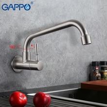 Gappo torneira da cozinha fixado na parede único punho de água fria 304 inoxidável torneiras de água da cozinha torneira de água fria