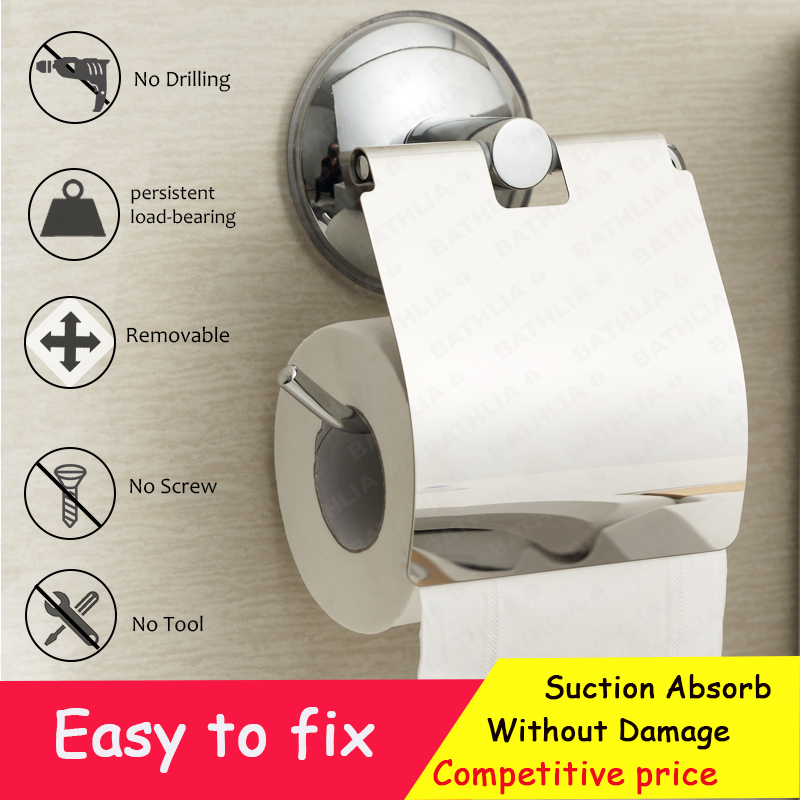 Stainless Steel Toilet paper Holder Heavy Duty  Suction Wall Mount Toilet Tissue Paper Holder Bathroom Paper Roll Holder luxury golden color toilet paper holder wall mounted roll toilet paper rack with cover bathroom accessories free shipping 3308