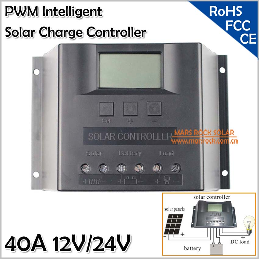 Cargador Solar 40A 12V/24V, Solar Panel Charge Controller with LED Display, Automatic Identification, PWM Charge Controller 40A