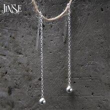 JINSE Fashion Cute Ear Wire Earrings Female Models Long Drop S925 Pure Silver Jewelry Dangle Brincos
