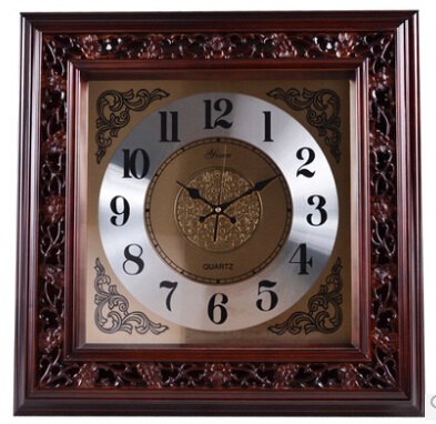 genuine european modern design solid wood carved king size 245 inches square retro wall clock mute